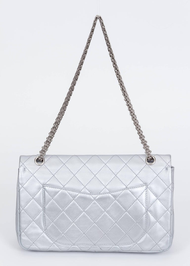 Chanel Silver Jumbo Reissue Double Flap In Excellent Condition For Sale In Los Angeles, CA