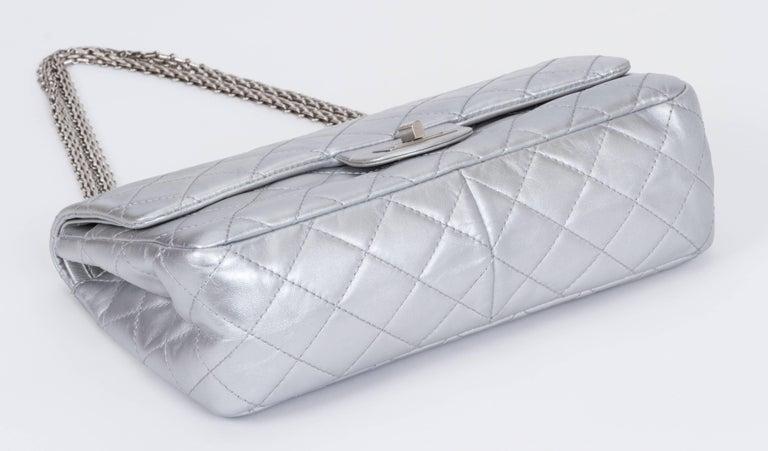 Women's Chanel Silver Jumbo Reissue Double Flap For Sale