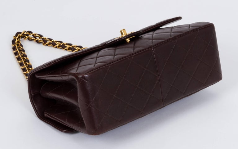 Chanel Vintage Brown Double Sided Quilted Leather Flap Bag In Good Condition For Sale In Los Angeles, CA