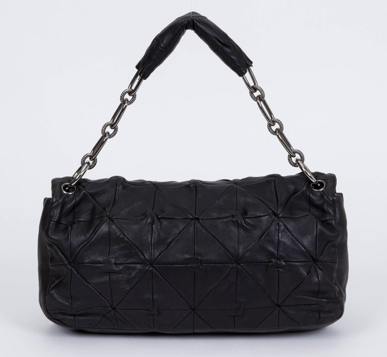 Chanel Maxi Black Leather Origami Flap Bag In Good Condition For Sale In Los Angeles, CA