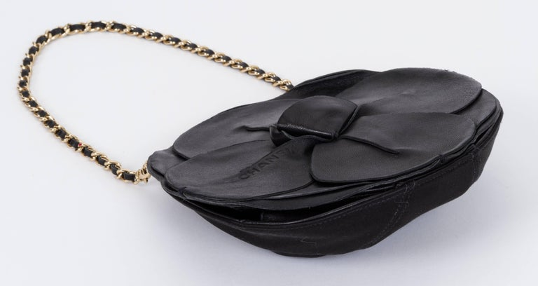 Women's Chanel Black Leather Camellia Flower Bag For Sale