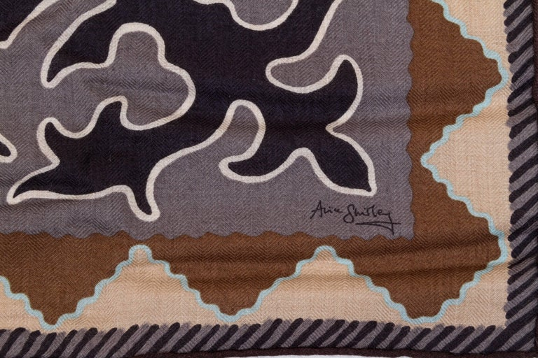 Hermes silk cashmere oversize shawl in 55