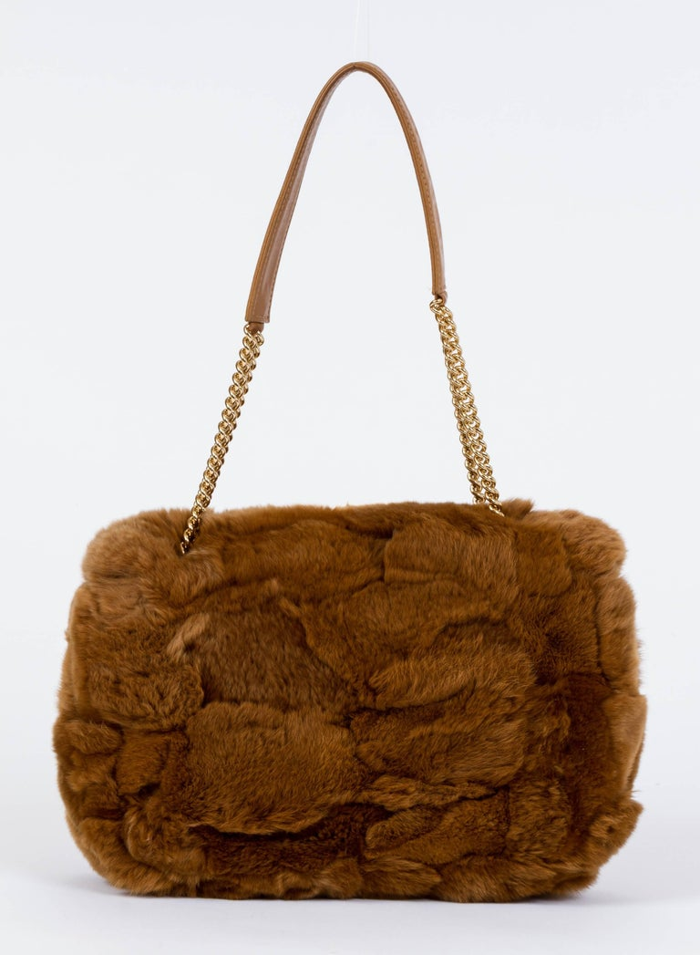 Brown Chanel Chinchilla Vintage Camel Flap Bag For Sale