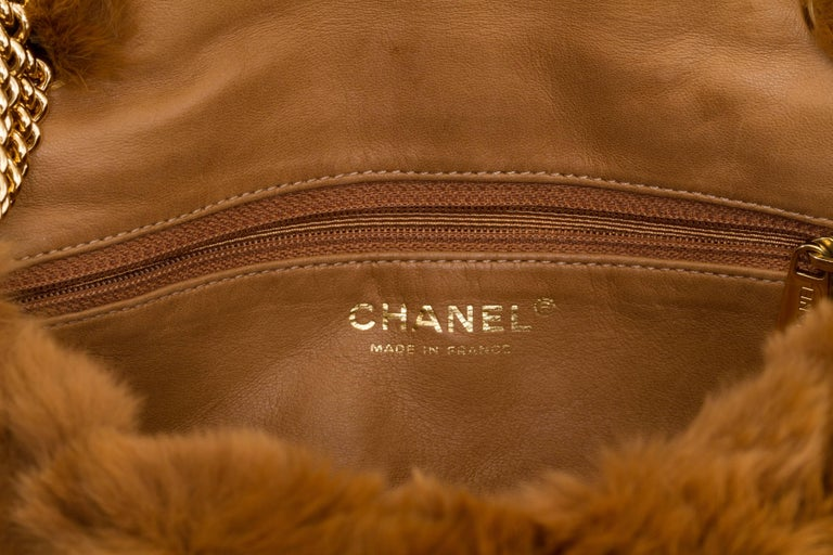 Chanel Chinchilla Vintage Camel Flap Bag For Sale 1