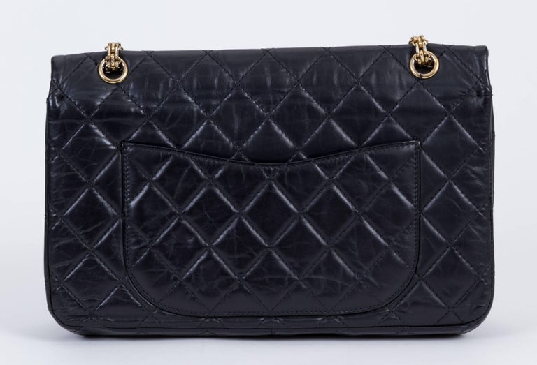 Chanel Black Reissue Gold Jumbo Flap Bag In Good Condition For Sale In Los Angeles, CA