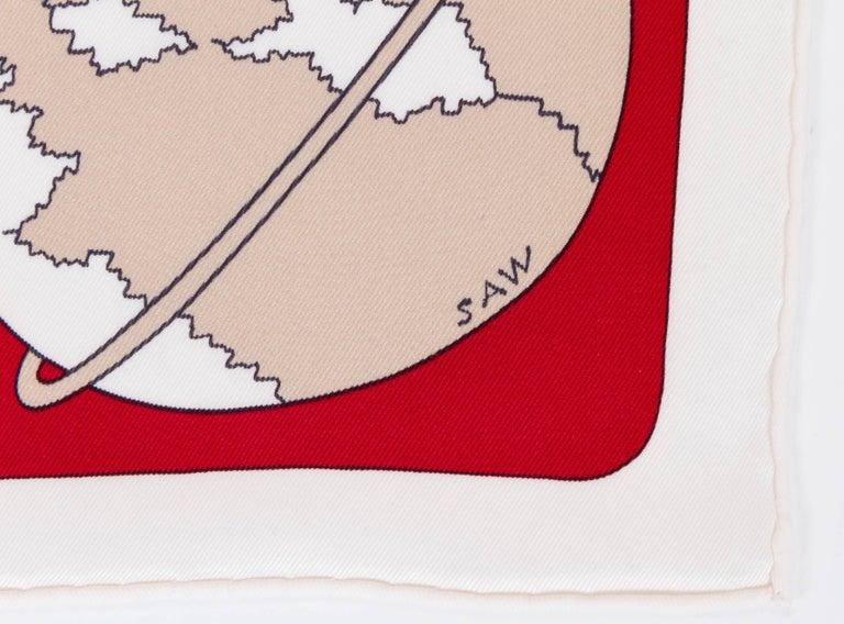 WOW Hermes Silk Scarf 'Un weekend dans l'espace' by Saw Keng in apple red silk. Excellent original unworn condition with original box.