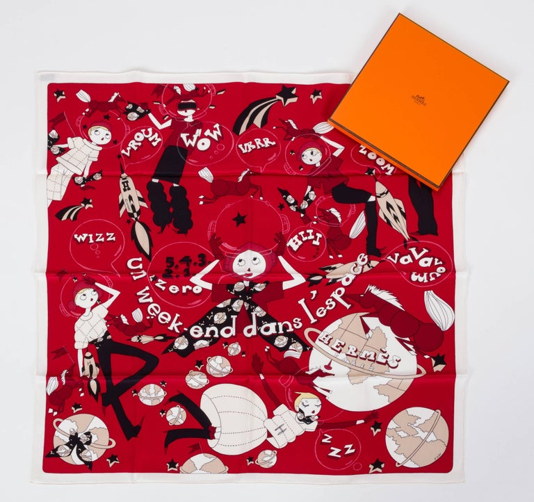 Hermes Un Weekend Dans L'Espace Scarf In New Condition For Sale In Los Angeles, CA