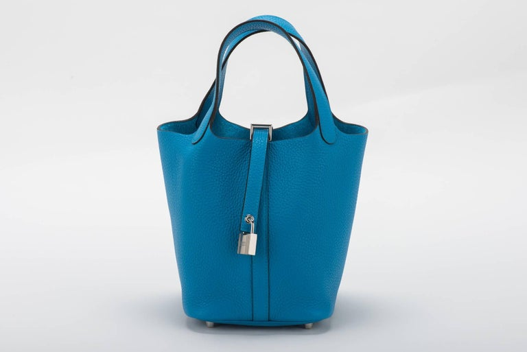 Hermes New Picotin Blue Zanzibar In New Condition For Sale In Los Angeles, CA