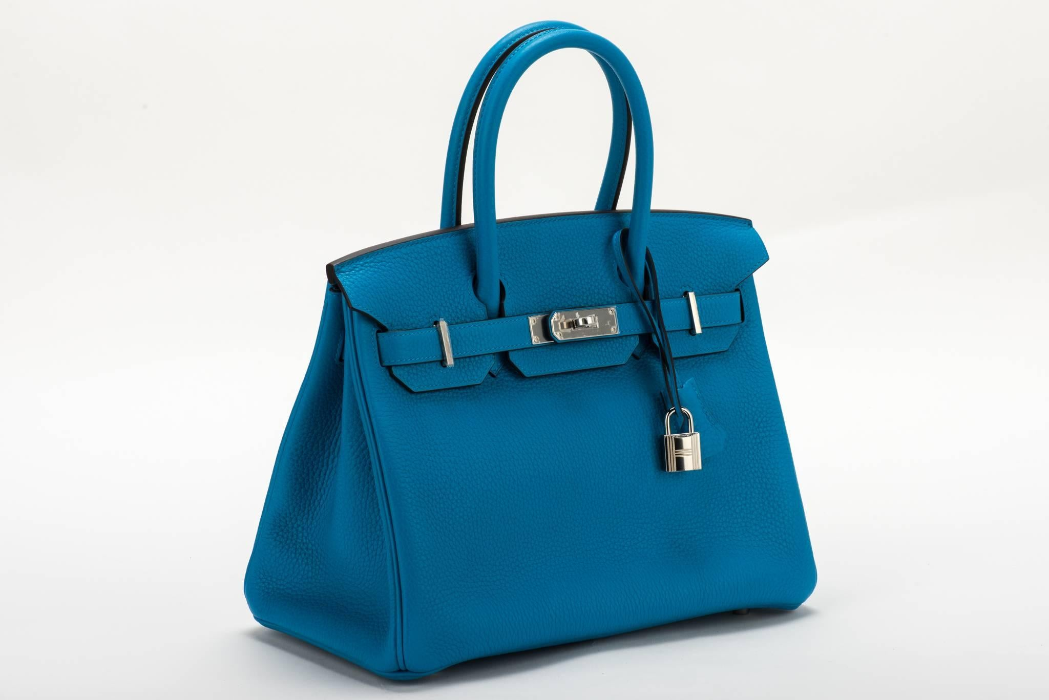 97fd6c306d14 ... italy hermes new authentic birkin 30 blue zanzibar togo bag. a stamp  for 2017.