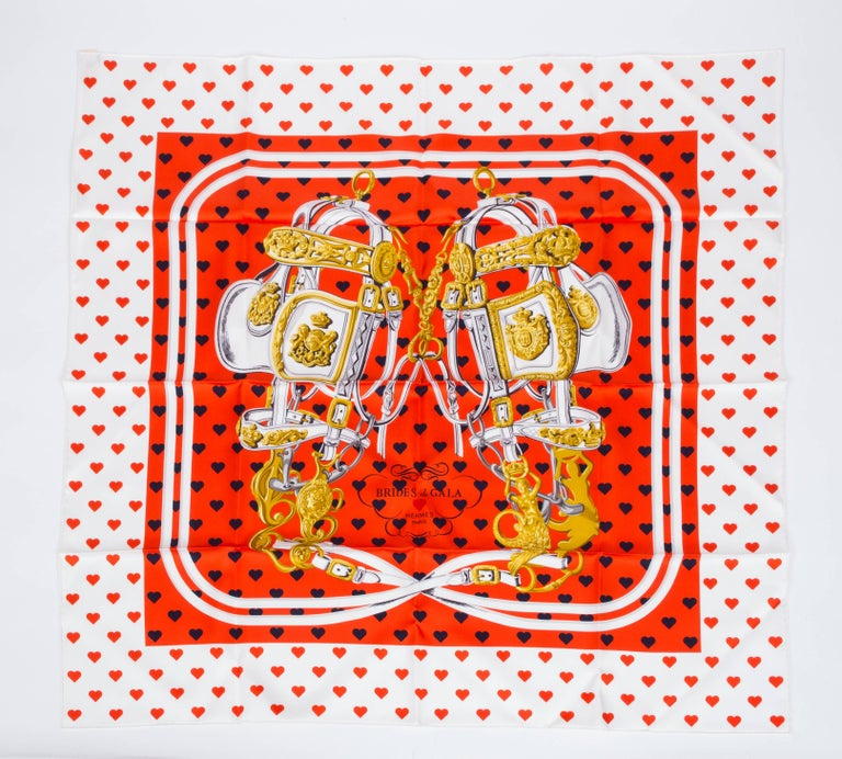 Orange Hermes Silk Brides de Gala Love Scarf  For Sale