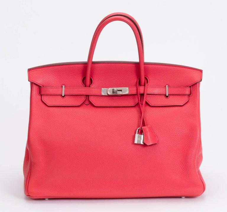 Hermès Rose Jaipur 40cm Birkin Bag In Excellent Condition For Sale In West Hollywood, CA