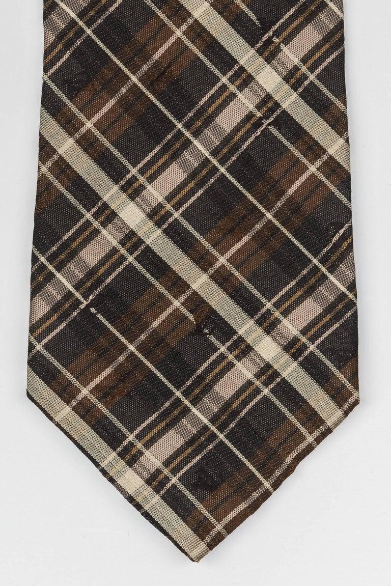 Men's New Louis Vuitton Silk Brown Plaid Tie For Sale