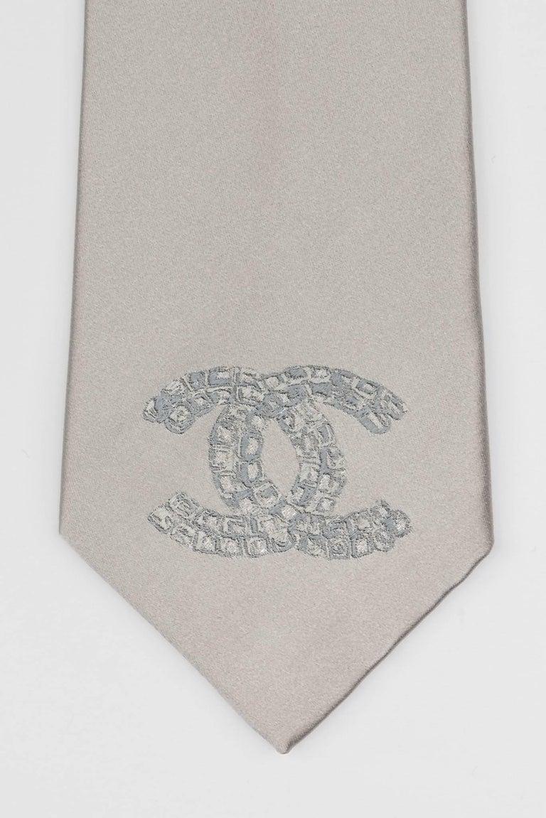 Chanel Silver CC Logo Silk Tie For Sale 1