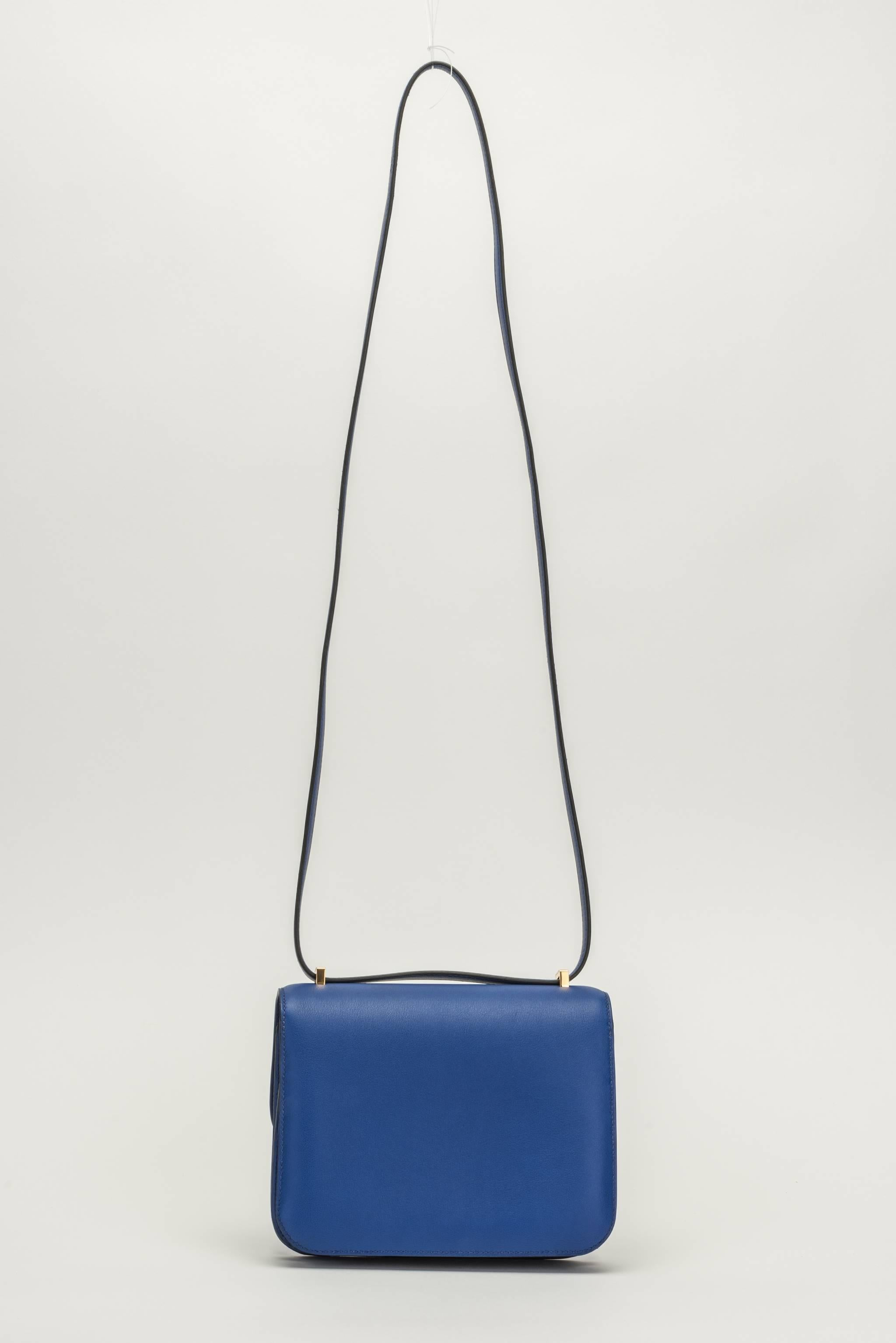 6c0fb0c9b8dd ... store hermes mini constance cross body 18cm in electric blue swift  leather and gold tone hardware