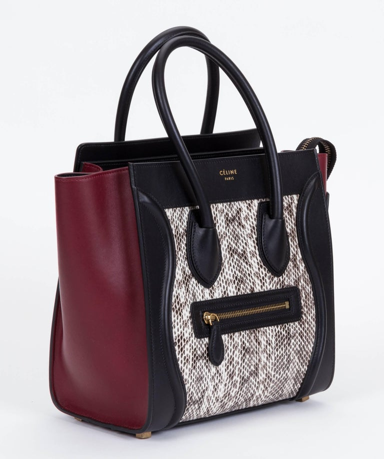 Celine Brand New Micro Luggage Handbag In Limited Edition Tricolor Water Snake Leather Burgundy