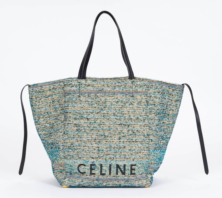 Gray New Celine Boucle Fabric Blue Phantom Bag For