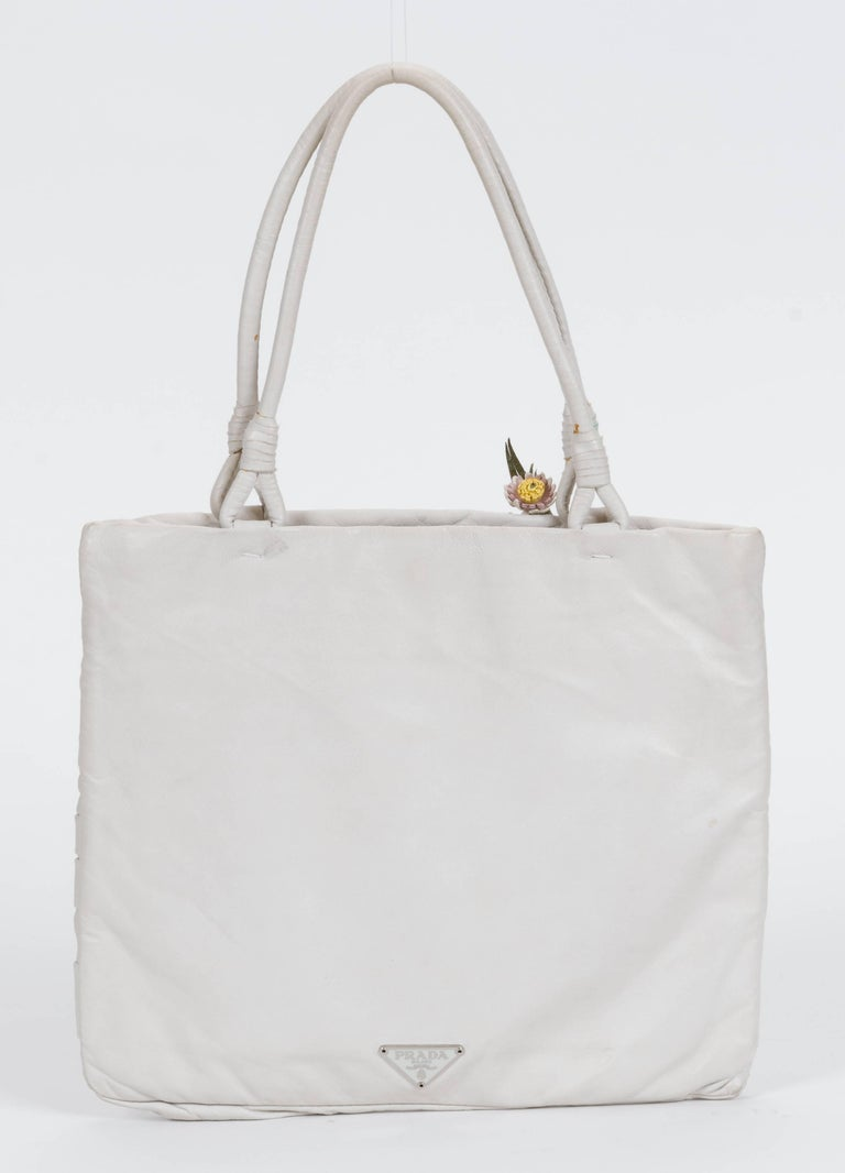 Gray 1990's Prada Vintage White Lambskin Handbag For Sale