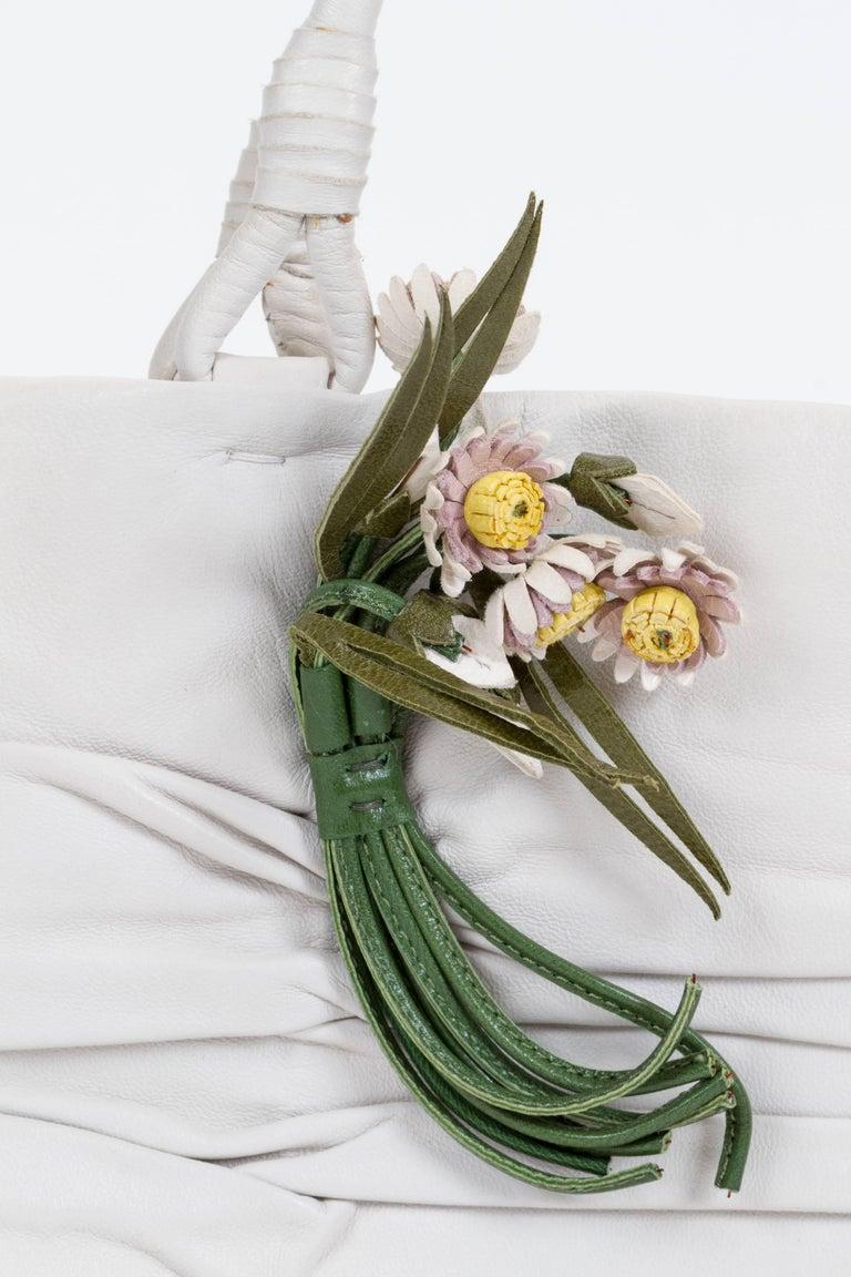 Women's 1990's Prada Vintage White Lambskin Handbag For Sale
