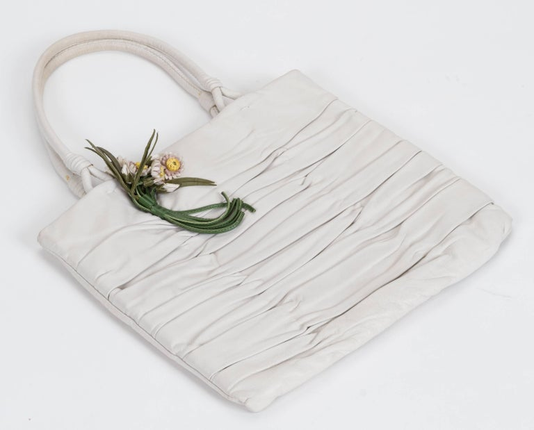 1990's Prada Vintage White Lambskin Handbag For Sale 1