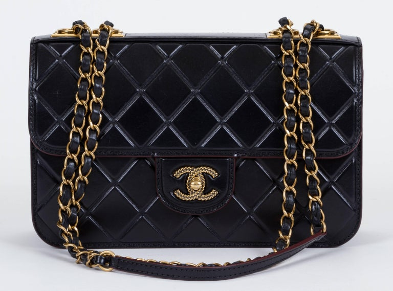 Chanel Black Brushed Leather Flap Bag For Sale 3
