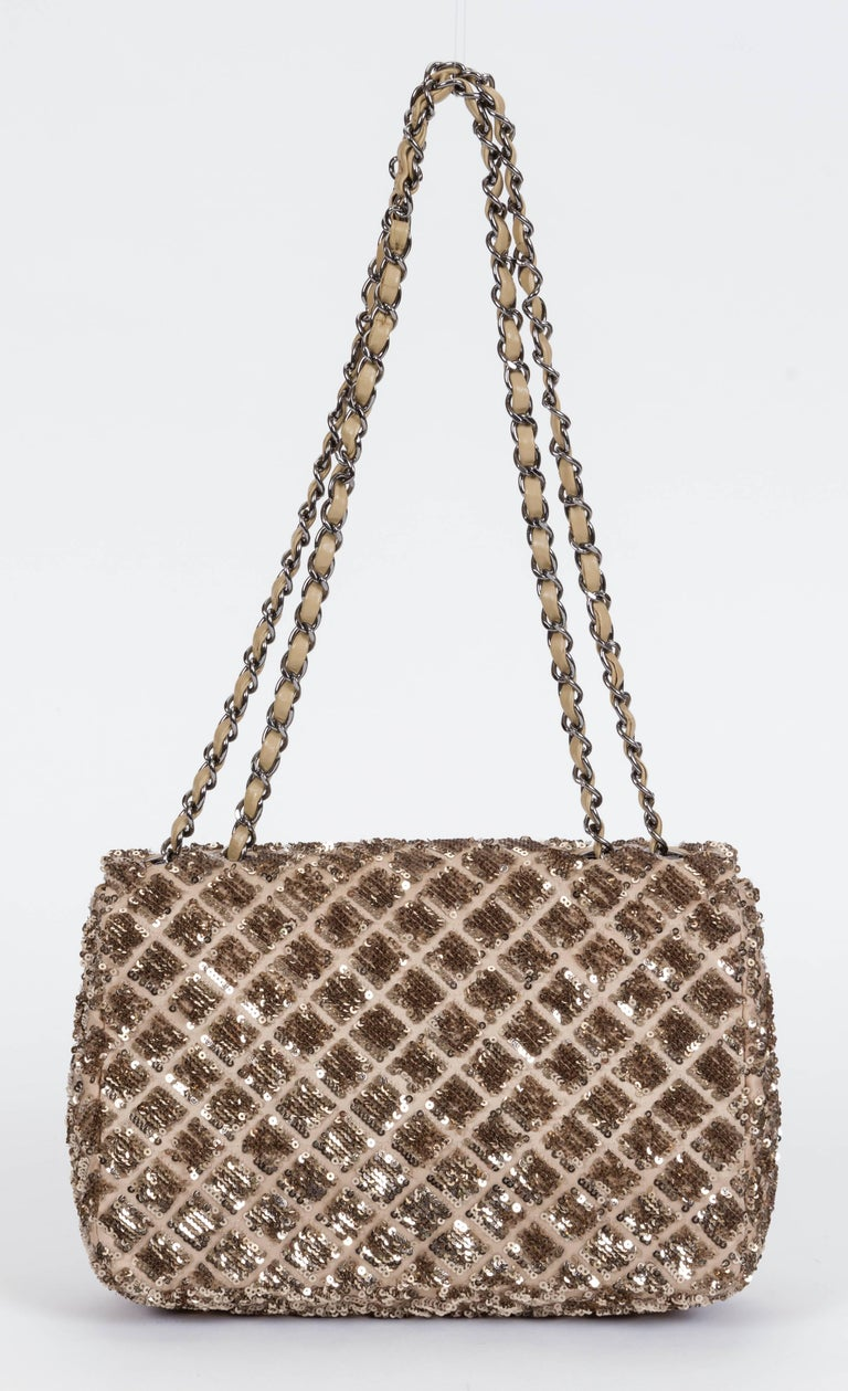 Brown Chanel Beige & Gold Sequins Flap Bag For Sale