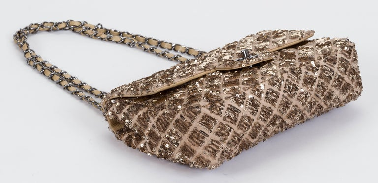 Chanel Beige & Gold Sequins Flap Bag In Good Condition For Sale In Los Angeles, CA