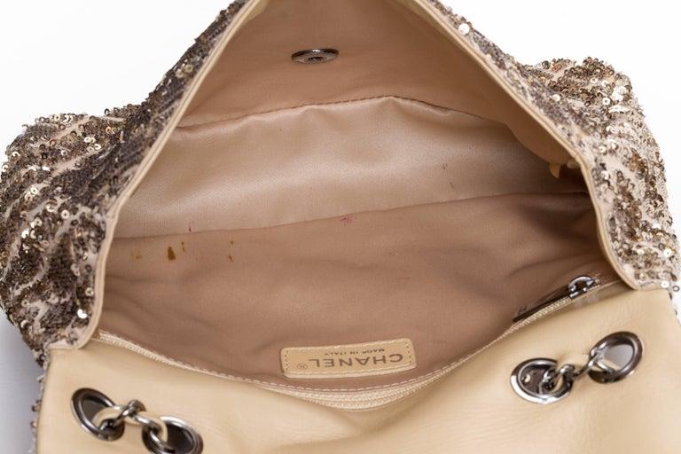 Chanel Beige & Gold Sequins Flap Bag For Sale 1