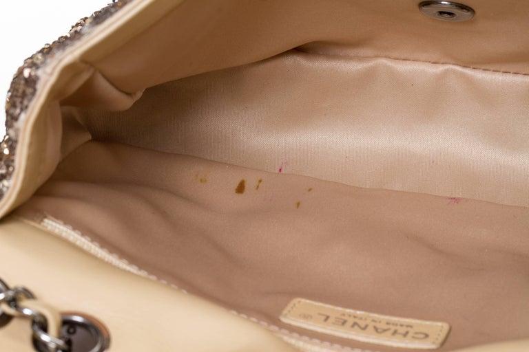 Chanel Beige & Gold Sequins Flap Bag For Sale 2