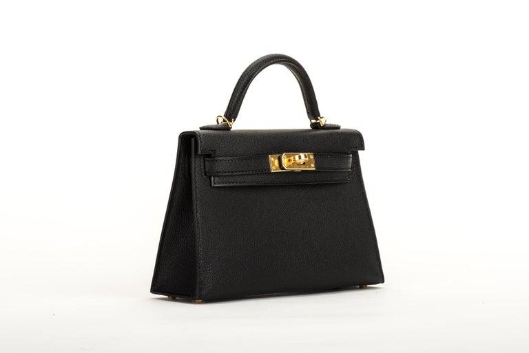 Women's New Hermes VIP Mini Kelly II Black Gold Bag