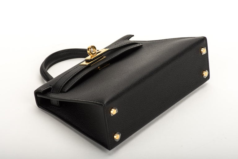 New Hermes VIP Mini Kelly II Black Gold Bag 2