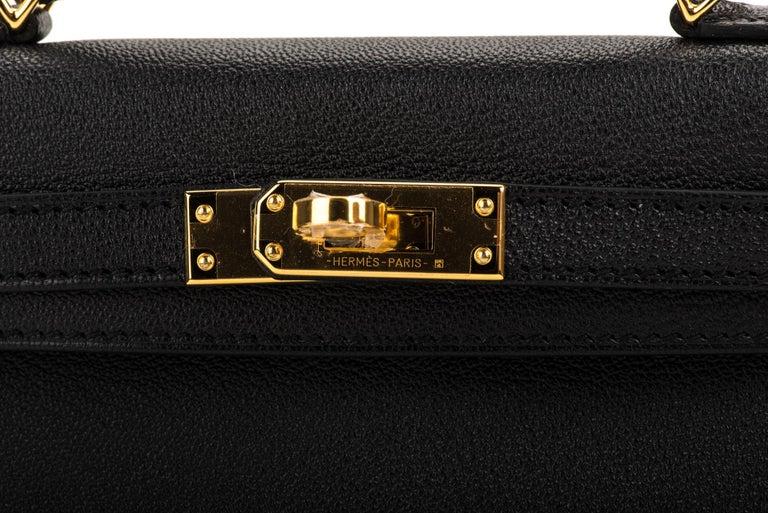 New Hermes VIP Mini Kelly II Black Gold Bag 4