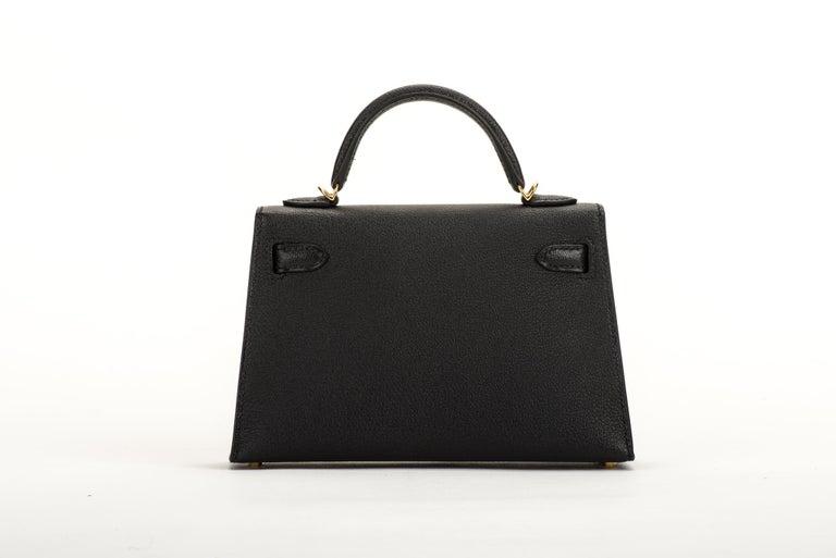 New Hermes VIP Mini Kelly II Black Gold Bag 6