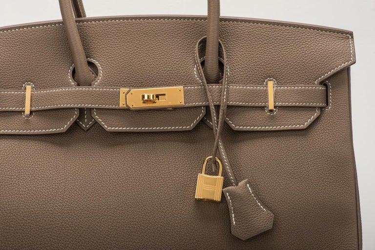 Women's New in Box Hermes Birkin 35 Etoupe Gold Togo Bag For Sale