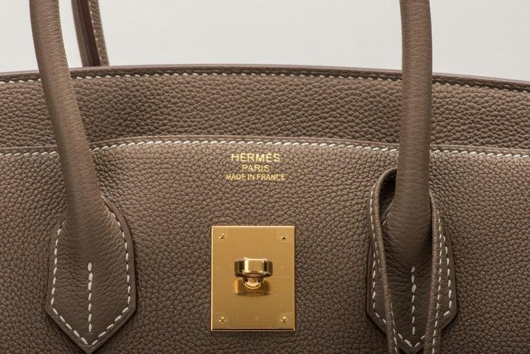 New in Box Hermes Birkin 35 Etoupe Gold Togo Bag For Sale 1