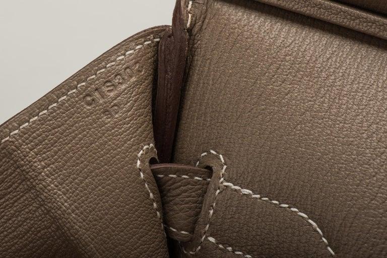 New in Box Hermes Birkin 35 Etoupe Gold Togo Bag For Sale 2