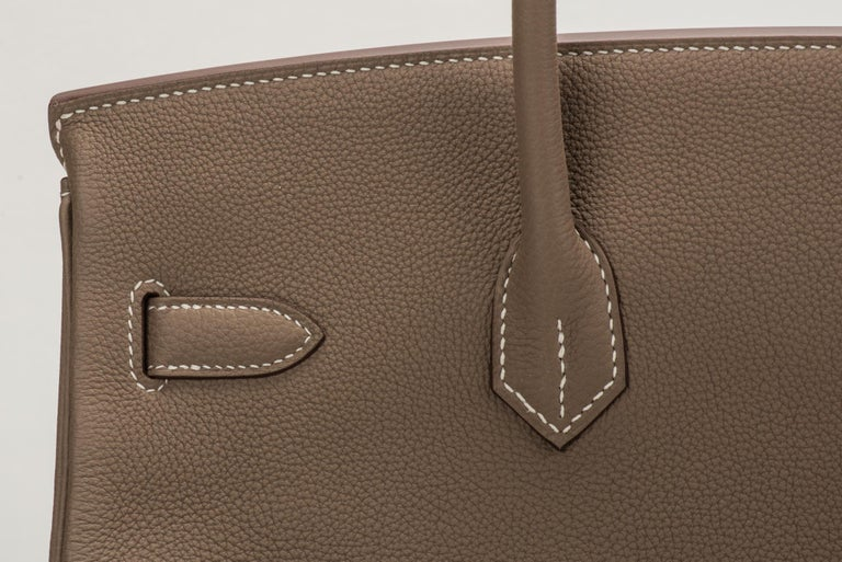 New in Box Hermes Birkin 35 Etoupe Gold Togo Bag For Sale 3