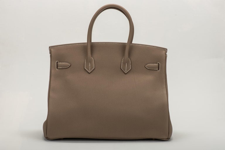 Brown New in Box Hermes Birkin 35 Etoupe Gold Togo Bag For Sale
