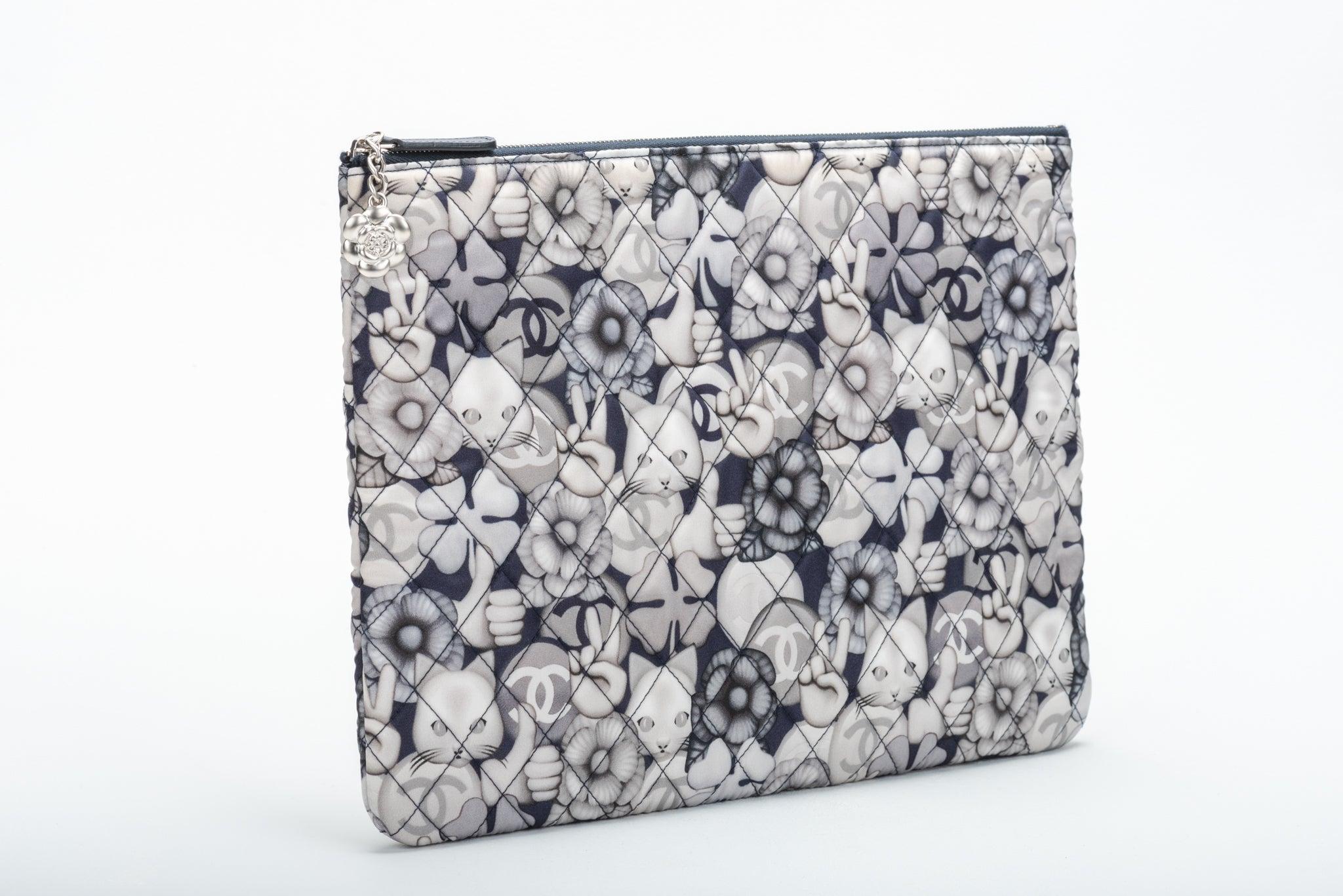 a1a629fee606 New in Box Chanel Grey Nylon Kitty Emoji Clutch at 1stdibs