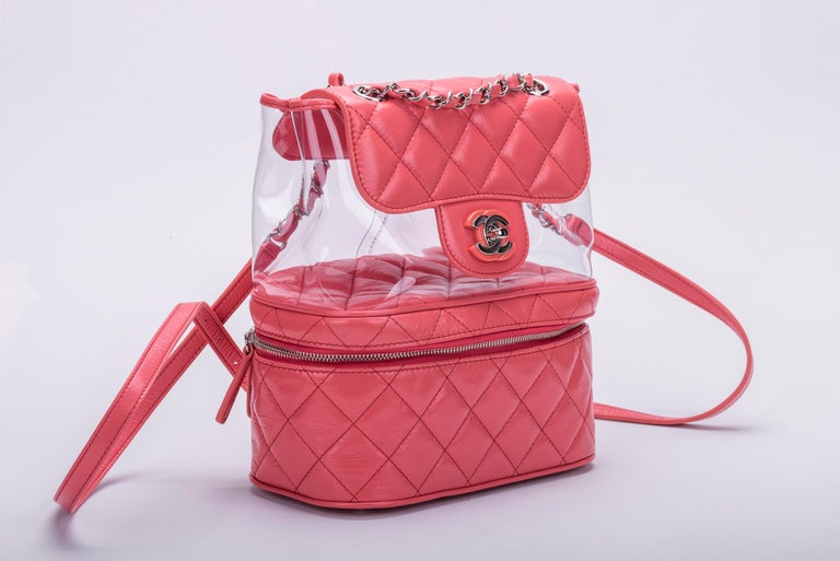 New in Box Chanel Sold Out Pink Quilted Lambskin Leather Clear Backpack In New Condition For Sale In Los Angeles, CA
