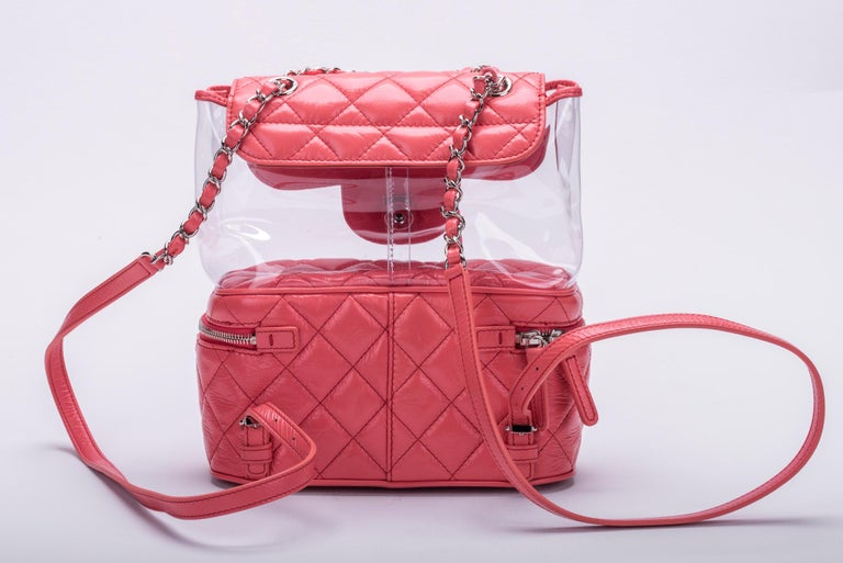 Women's New in Box Chanel Sold Out Pink Quilted Lambskin Leather Clear Backpack For Sale