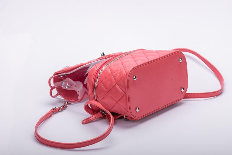 New in Box Chanel Sold Out Pink Quilted Lambskin Leather Clear Backpack For Sale 1