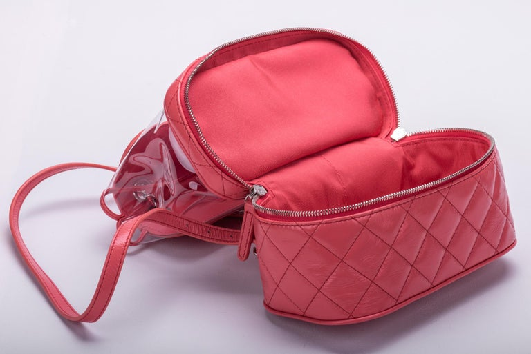 New in Box Chanel Sold Out Pink Quilted Lambskin Leather Clear Backpack For Sale 2