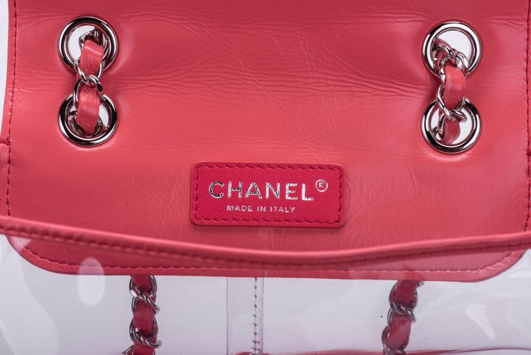 New in Box Chanel Sold Out Pink Quilted Lambskin Leather Clear Backpack For Sale 5