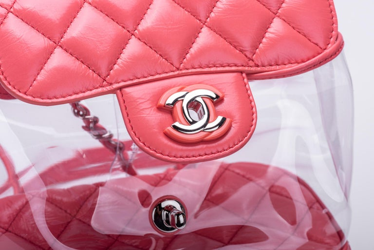New in Box Chanel Sold Out Pink Quilted Lambskin Leather Clear Backpack For Sale 6