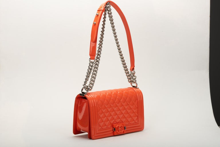 Chanel Medium Boy Bag In Orange Patent Leather Lambskin Lining And Silver Tone Hardware