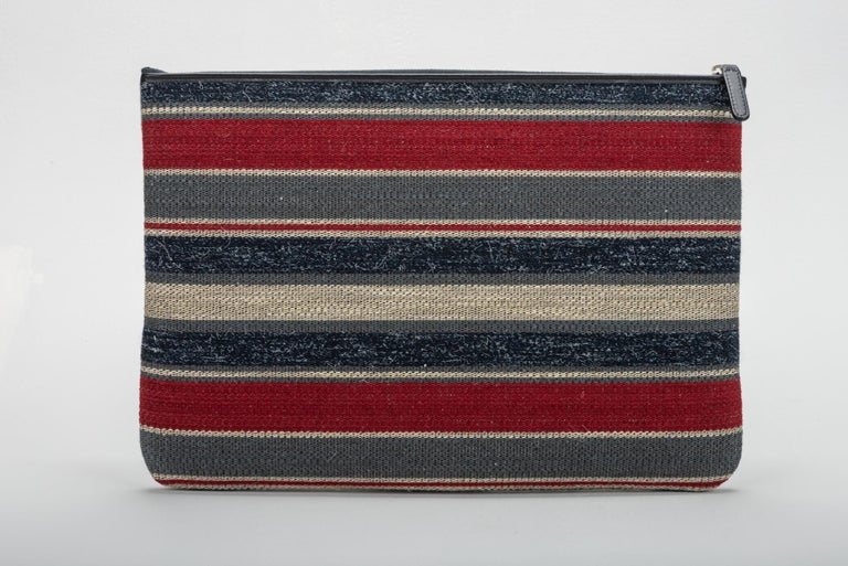 Brown New Chanel Large Red Beige Stripe Clutch Bag For Sale