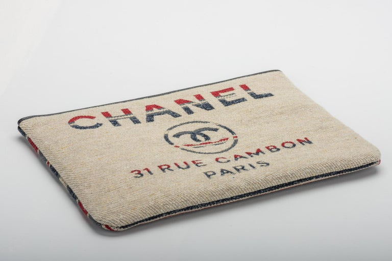 New Chanel Large Red Beige Stripe Clutch Bag In New Condition For Sale In Los Angeles, CA