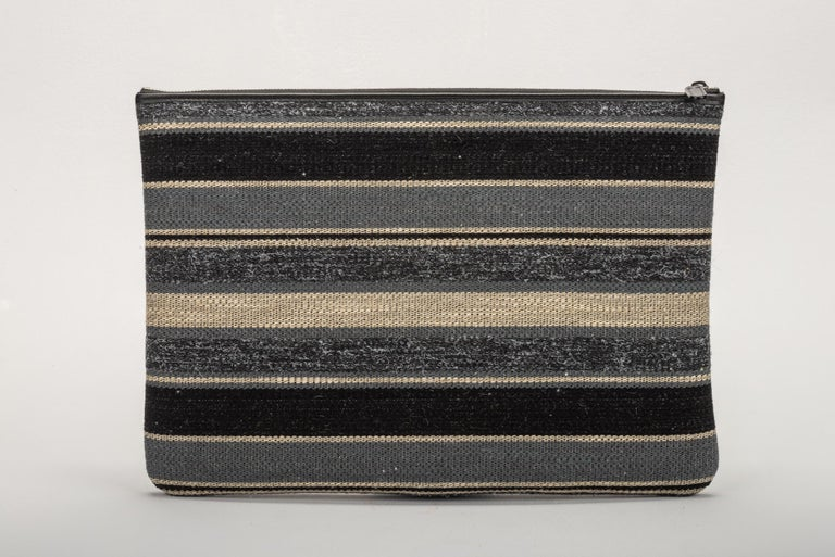 Chanel Large Quilted Black Striped Clutch In New Condition For Sale In West Hollywood, CA