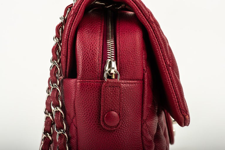 Chanel Cherry Red Jumbo Zipped Flap Bag For Sale 5