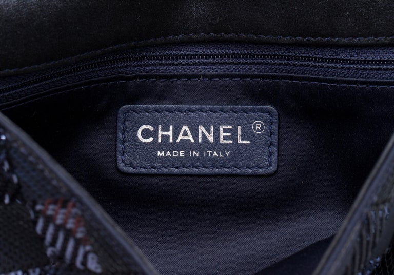 Chanel Navy and Black Sequins Evening Flap Bag For Sale 1